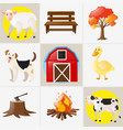 different types of farm animals and elements vector image