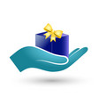 gift box in hand vector image