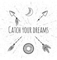 Hand drawn arrows dreamcatcher moon and feathers vector image