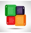 Overlapping bright infographic boards and elements vector image