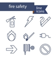 Set of line icons for fire safety vector image