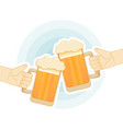 two human hands toasting with beer mugs flat vector image