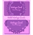 Two violet vintage horizontal business cards vector image