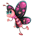 A pink butterfly vector image
