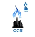 Oil refinery plant icon with flame above vector image vector image