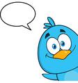 Peeking Bird Cartoon with Speech Bubble vector image