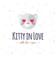 cartoon cat head logo Flat logotype vector image