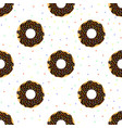 chocolate donuts with colorful sprinkles vector image