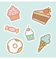 Cupcake piece of cake ice cream cone candy donut vector image