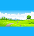 summer landscape with meadow flowers and mountains vector image