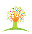Tree children hands and love logo vector image vector image