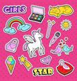 girlish doodle with rainbow and unicorn vector image