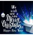 We wish you a Merry Christmas and Open gift with vector image