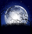 halloween full moon background vector image