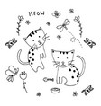 doodle of two lovely kittens vintage decorative vector image