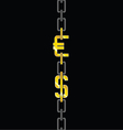 euro and dollar on chain vector image