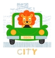 Lion with car t-shirt design vector image