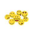 set of yellow emoji like crowd of people vector image