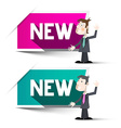 New Labels Paper New Tags with Businessmen vector image vector image