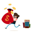 stealing money from piggy banks vector image vector image
