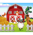 Animals at the farm with a barnhouse vector image