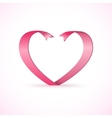 Red satin glossy ribbon heart Valentines Day vector image
