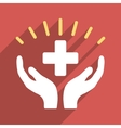 Medical Prosperity Flat Square Icon with Long vector image