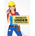 builder woman with hammer vector image