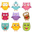Cute owls set vector image