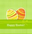 Easter eggs on green seamless linen background vector image