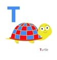 Letter T Turtle Zoo alphabet English abc with vector image
