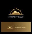 mountain volcano star adventure gold logo vector image