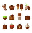 sweets and chocolate icons set in flat vector image