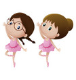 two girls in ballet outfit dancing vector image