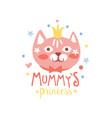 mummys princess label colorful hand drawn vector image