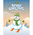 Snowman and ski vector image vector image