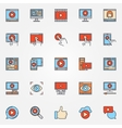 Video colorful icons set vector image