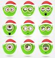 Set of funny green Santas elfs smiles in goggle vector image