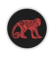 Red monkey with hand-drawn pattern on black vector image