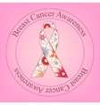 Breast cancer awareness stamp with painted ribbon vector image vector image