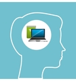 silhouette head boy laptop book education online vector image