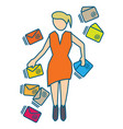 young woman managing many incoming emails vector image vector image