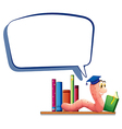A worm reading a book with an empty callout vector image vector image