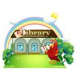 A red parrot reading in front of the library vector image