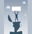 business man standing on big businessman head vector image