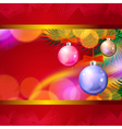 Christmas background with balls and lights vector image