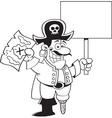 Cartoon pirate holding a map and a sign vector image