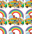 Seamless children standing by the schoolbus vector image