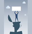 business man standing on big businessman head vector image
