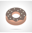 Flat color chocolate donut icon vector image